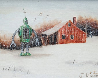 "4"" by 6"" postcard print, ""Whistling Snow Bot"" Altered Thrift Store Art"