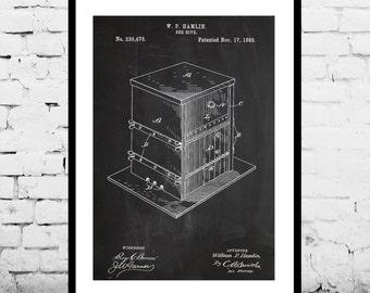 Bee Hive Patent, Bee Hive Poster, Bee Hive Print, Bee Hive Art, Bee Hive Decor, Bee Hive Blueprint