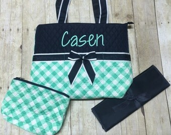 Personalized Navy and Mint  Diaper Bag, Embroidered