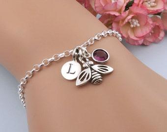 Sterling Silver Bee Bracelet, Personalized Bee Bracelet, Initial Bracelet, Birthstone Bracelet, Bumble Bee Jewelry, Honey Bee Charm Bracelet
