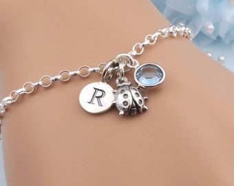 Sterling Silver Ladybug Bracelet, Personalized Bracelet, Initial Bracelet, Birthstone Bracelet, Ladybird Jewelry, Insect Charm Bracelet