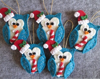 Christmas Ornaments with Felt Owl - Handmade Ornaments for Christmas Tree -