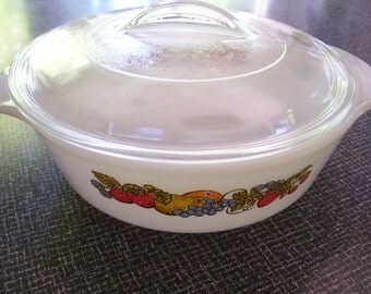Fire King Casserole Fire King Nature's Bounty 1 qt Casserole with Lid Vintage