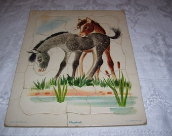 Playskool Puzzle Horses Foals Vintage 60s