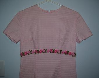 Long Dress Pink Bridesmaid Dress Handmade Sz6/8 Women Vintage 70s