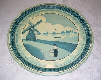 Metal Serving Tray Dutch Scene Tray Vintage
