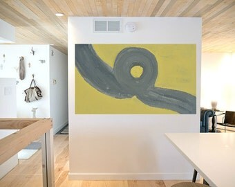 minimalist abstract painting classic yellow and gray canvas or wood Original painting zen minimalist art Large home decor 2x4 foot canvas