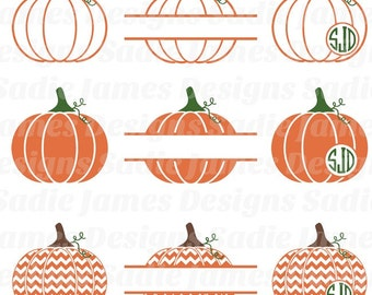 Halloween Monogram Pumpkins SVG and Silhouette Studio cutting file, Instant Download