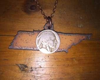 "Buffalo Nickel Tennessee Necklace | Rusted Metal State Cutout | 24"" Antique Copper Chain"