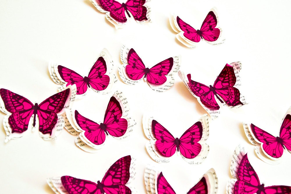 Pink Butterfly Wall Decoration : Pink butterflies d butterfly wall art