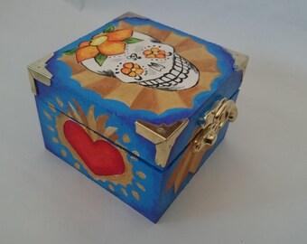 Sugar Skull Trinket Box (Blue-burst)