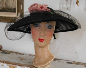 Beautiful 1940's Black Horsehair Wide Brimmed Hat with Roses