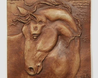 """Hand made Equine tile 5, horse with turned head, 4"""" accent tile to install or hang/display"""