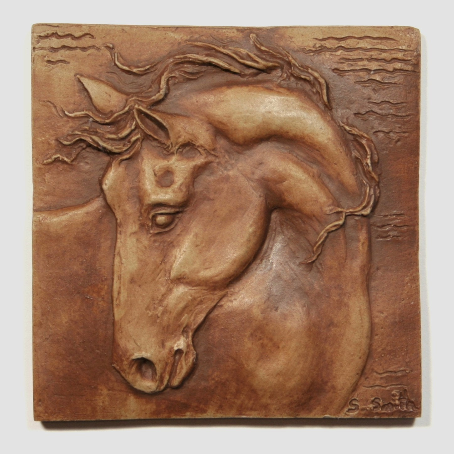 Hand made equine tile horse with turned head