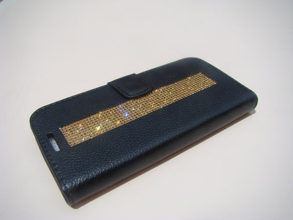 "Galaxy S7  "" Edge "" Gold Topaz Rhinestone Crystals on Black Wallet Case. Velvet/Silk Pouch bag Included, Genuine Rangsee Crystal Cases."