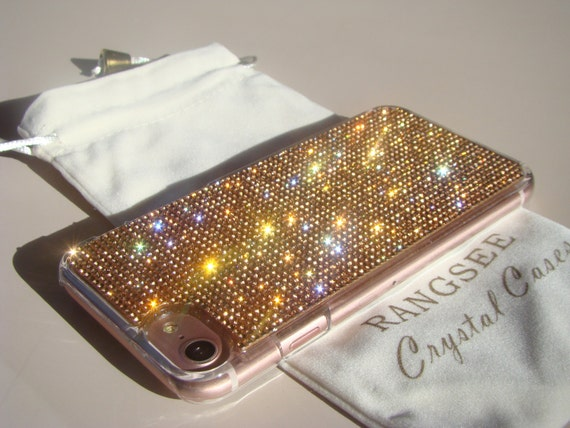 iPhone 7 Case Rose Gold Rhinstone Crystals on iPhone 7 Transparent Clear Case. Velvet/Silk Pouch Included, Genuine Rangsee Crystal Cases.