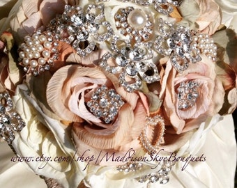 Blush Brooch Bouquet - Bridal Bouquet - Keepsake Bouquet - Custom Bouquet