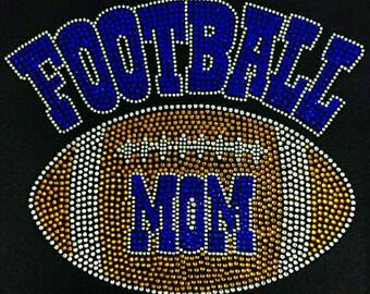"Football, Bling, Diva, Rhinestone  ""Football Mom""  T-Shirt"