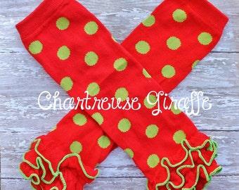 Red & Green Polka Dot Christmas Inspired Ruffle Leg warmers