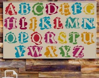 Alphabet Cross Stitch Pattern INSTANT DOWNLOAD