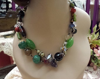 Two strand multi color beaded stone necklace