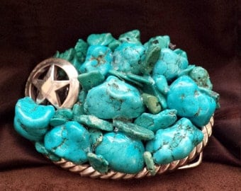 Turquoise belt buckle with lone star