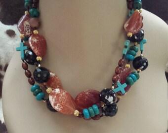 three strand turquoise,  jasper and black onyx necklace