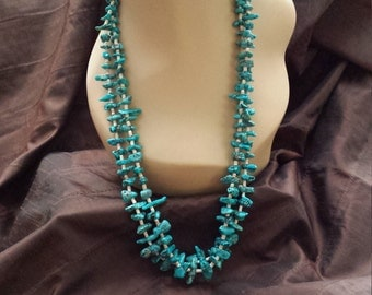 Two strand turquoise beaded native American necklace