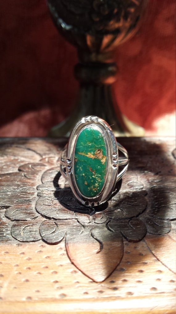 Sterling silver native American turquoise ring, size 6 1/4