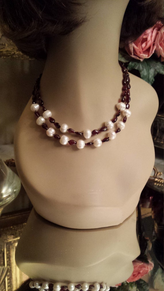 Two strand polished garnet abd freshwater pearl necklace