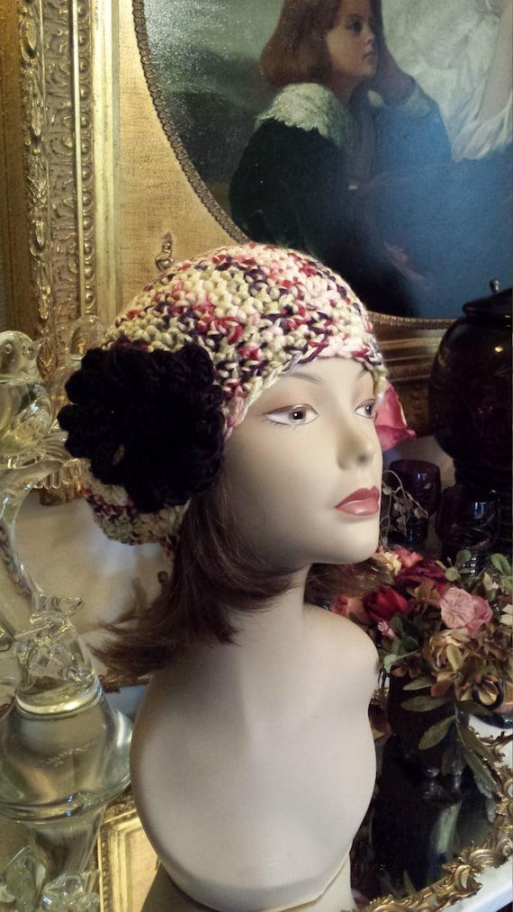 Winter hat crochet with flower on side