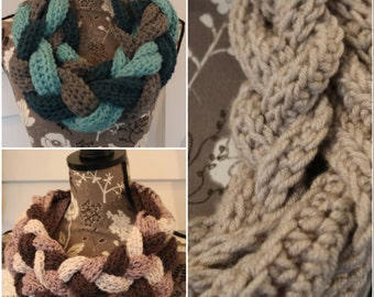 braided cowl with button closure