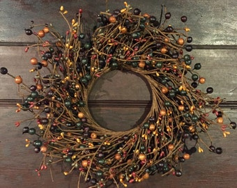FREE SHIPPING!!  Pip Berry Wreath-Candle Ring-Primitive Wreath - Centerpiece