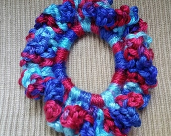 Crochet Ruffled Ponytail Holder