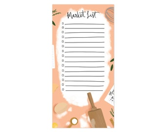 Cute Illustrated Market List Notepad - Baking Counter