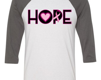 hope pink ribbon breast cancer awareness baseball tee