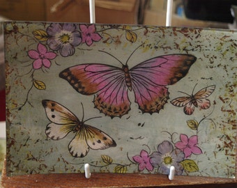 Lavender Butterfly Small Rectangle Plate