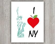 I Love New York Wall Art Print, Teal Print, NYC Teal Wall Art, New York City Art, Teal Wall Decor, New York City Print, New York Wall Decor