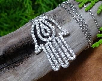 Silver .925 Crystal Hamsa Pendant 18″ Necklace