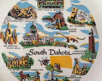 Vintage South Dakota Souvenir Plate