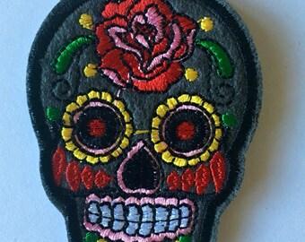 Dark grey sugar skull embroidered patch / applique