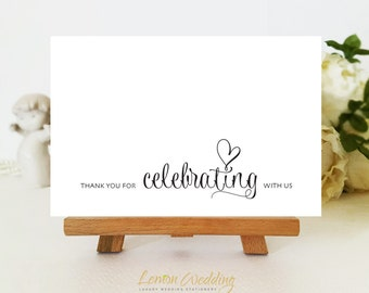 Wedding thank you cards | Thank you for celebrating with us | Bridal Shower, Engagement, Anniversary simple thank you cards printed
