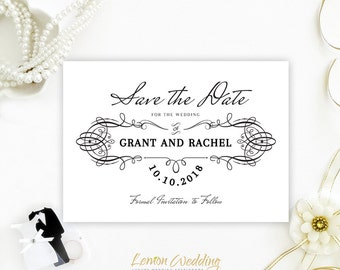Simple and elegant calligraphy save the dates | Black and white retro wedding save the date invitations | Vintage save the dates printed
