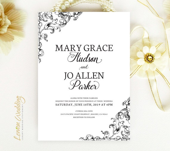 Cheap Cardstock For Wedding Invitations : Black and white wedding invitations Classic wedding