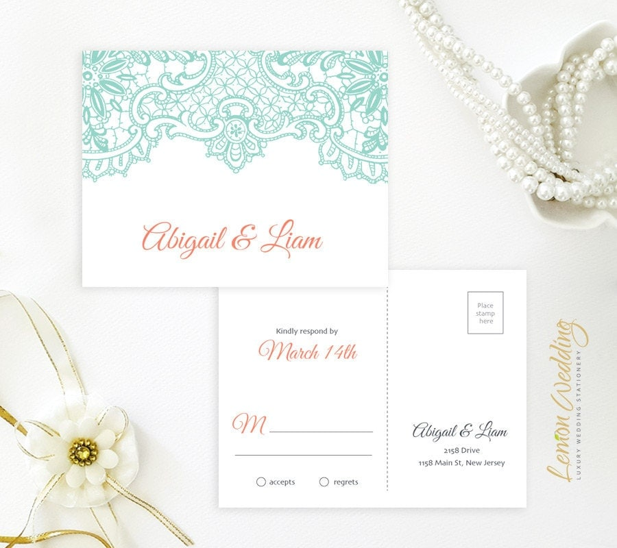 Mint wedding Invitation sets printed on shimmer cardstock Lace