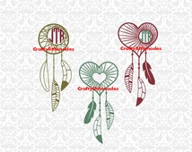 Heart and Cresent Moon Dreamcatchers & Feathers SVG STUDIO Ai EPS Vector Instant Download Commercial Use Cutting File Cricut Silhouette