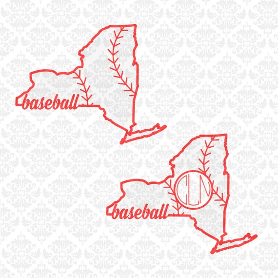 New York State Baesball Softball Fast pitch fastpitch Shape Monogram SVG STUDIO Ai EPS Vector Instant Download Commercial Cricut SIlhouette