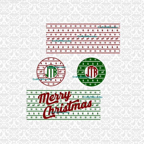Ugly Sweater Monogram Winter Snowflake Reindeer Christmas Tree SVG STUDIO Ai EPS Plot Vector Instant Download Commercial Use Cutting File