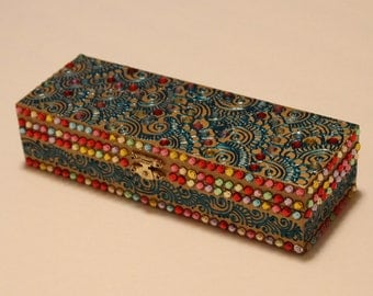 Gold/Blue/Multicolor Jewelry Box