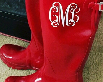 Rainboot Monograms | Rain Boot Monogram | Monogram Decal | Hunter Rainboots | Monogrammed Rainboots | Set of two Rainboot Decals